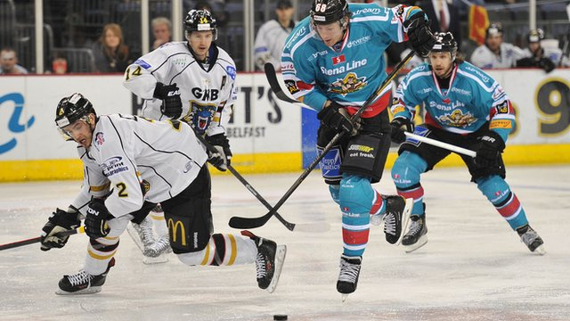 Belfast Giants Chris Higgins in action against the Nottingham Panthers