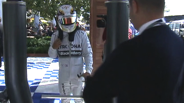 Lewis Hamilton tries to get back to the pits after breaking down in practice one in Australia