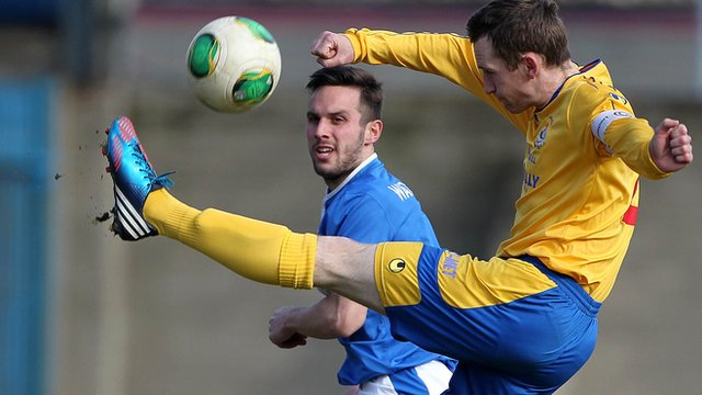 Action from Linfield against Dungannon Swifts