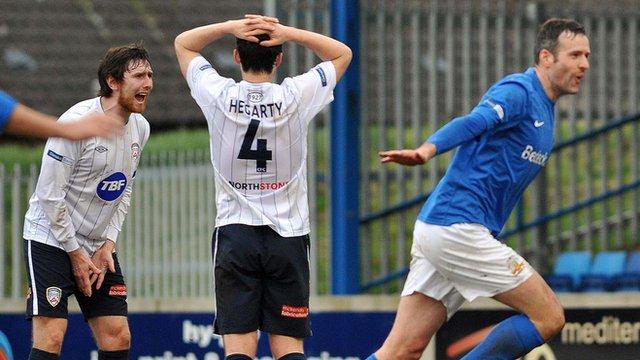 Glenavon's Ciaran Martyn celebrates scoring against Coleraine