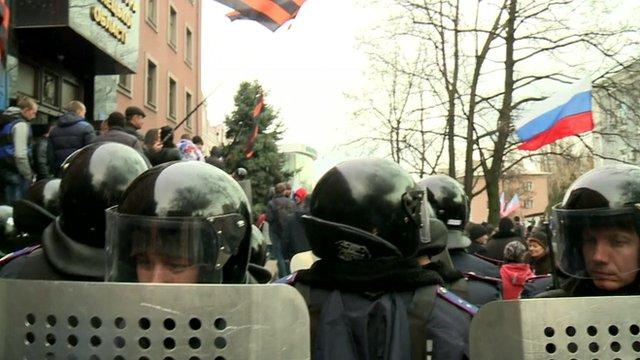 Riot police in Donetsk