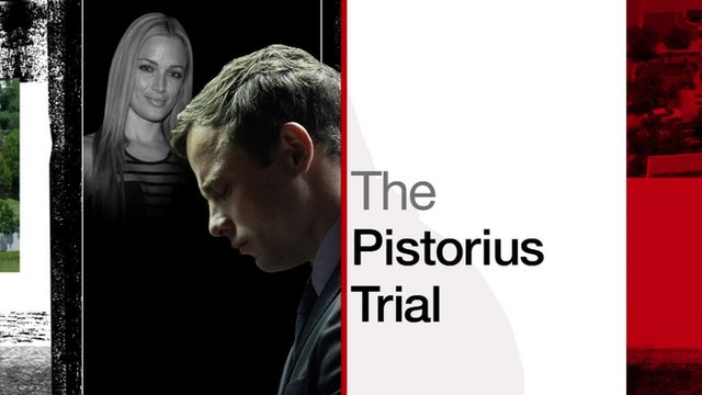 Graphic showing picture of Oscar Pistorius and Reeva Steenkamp
