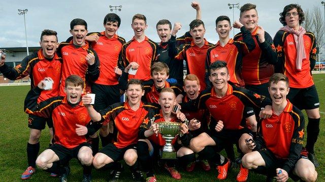 De La Salle celebrate winning the Belfast Senior Cup