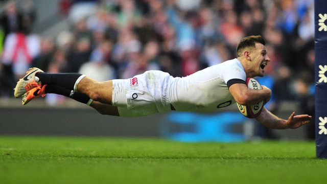 England's Danny Care scores a try against Ireland in 2014