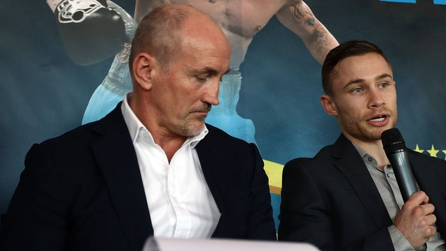 Carl Frampton with Barry McGuigan at a news conference in Belfast on Tuesday