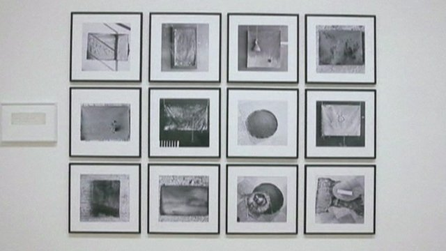 A display of photographs taken by Yoko Ono