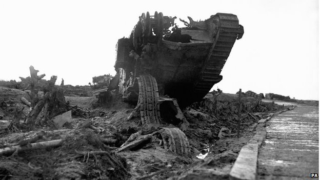 The wreckage of a British tank beside the infamous Menin Road near Ypres. Used as a supply route by the British Army, it came under intense German artillery fire