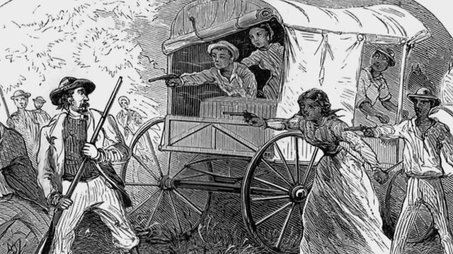Engraving of black slaves escaping north