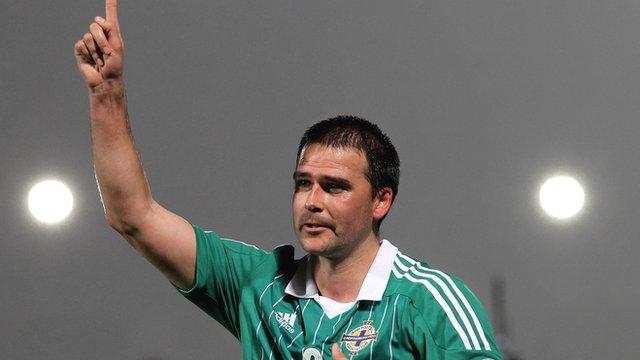 David Healy celebrates scoring for Northern Ireland