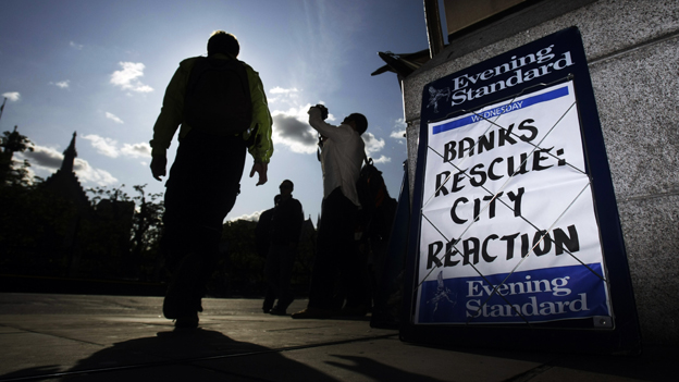 "2008: man walks past Evening Standard billboard: ""Banks rescue: City reaction"""