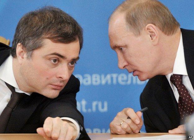 Vladislav Surkov (left) with Vladimir Putin on a visit to Kurgan, Russia, 13 February 2012