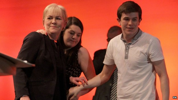 Johann Lamont with her children after her conference speech
