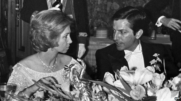 Adolfo Suarez with Queen Sofia at a gala dinner in 1978