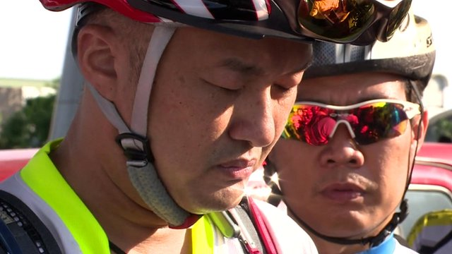 Cyclists holds a moment's silence in Kuala Lumpur