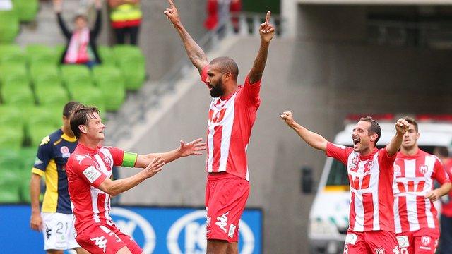 Orlando Engelaar celebrates his goal for Melbourne Heart