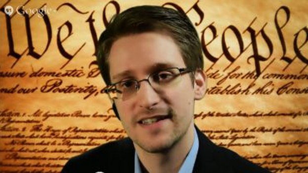 Screengrab shows Edward Snowden speaking via video conference during a panel discussion on internet privacy with representatives from the American Civil Liberties Union (ACLU) at the South by Southwest Interactive festival in Austin, Texas on 10 March 2014.