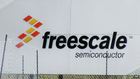 A sign for Freescale Semiconductor is seen in this photo from Austin, Texas on 9 March 2014.