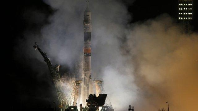 The Soyuz-FG rocket booster with Soyuz TMA-12M space ship