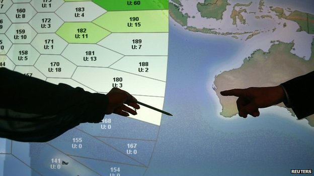 Inmarsat map showing search area. 25 March 2014