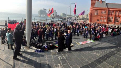 NUT Cymru rally outside the Welsh Assembly in Cardiff Bay