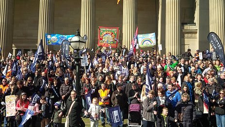 NUT on the steps of St George's Hall