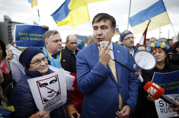 Former Georgian President Mikheil Saakashvili at a pro-Ukrainian rally in Dublin, 6 March