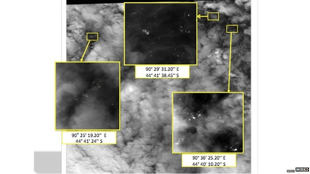 Satellite image showing debris in the southern Indian Ocean