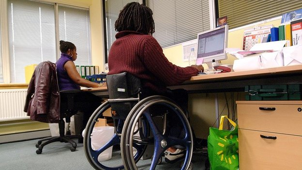 Man with disabilities at work