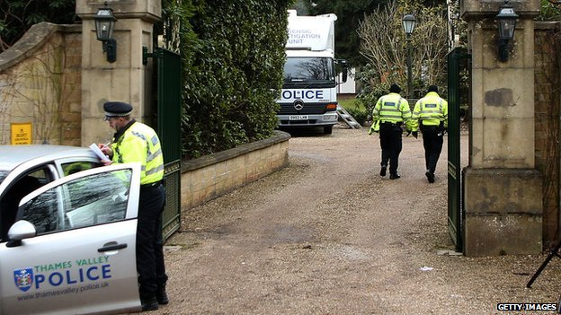 Police at the home of Russian tycoon Boris Berezovsky