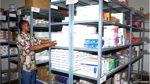 A warehouse of the Swiss branch of the NGO Medecins sans Frontieres in Conakry showing protection material stored on shelves