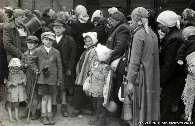 Arrival and processing of Jews at Auschwitz-Birkenau in 1944