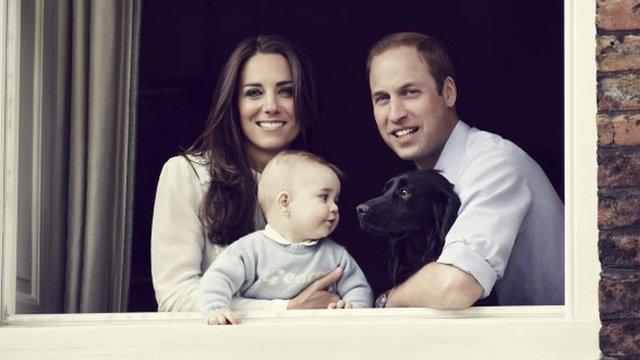 Prince George with the Duke and Duchess of Cambridge