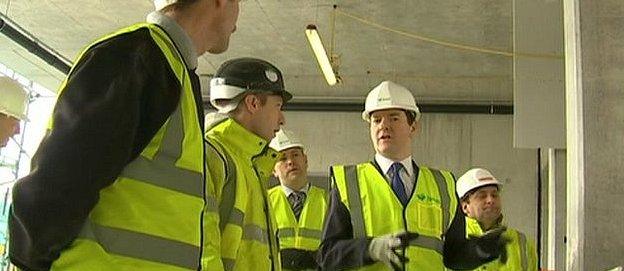 George Osborne on a construction site