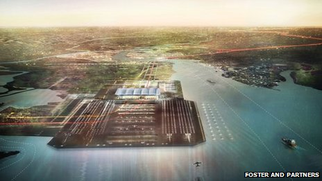Norman Foster's vision for the proposed airport in the Thames Estuary