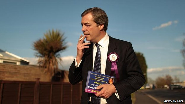 Nigel Farage campaigning ahead of the 2010 general election