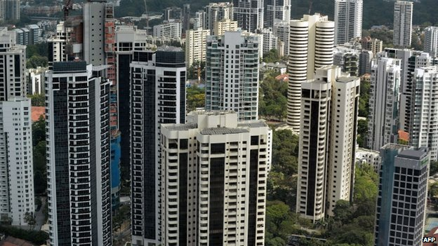 A general view of residential housing is seen in Singapore on 6 March 2014