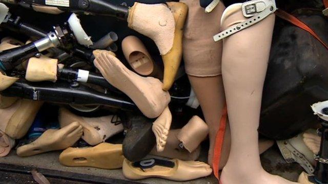 Used prosthetic legs