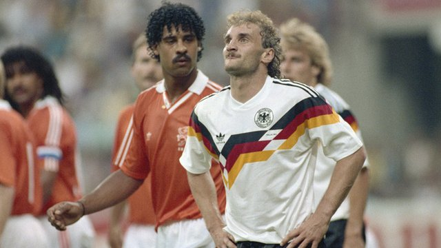 Frank Rijkaard spits at Rudi Voller as the pair are sent off during the 1990 World Cup