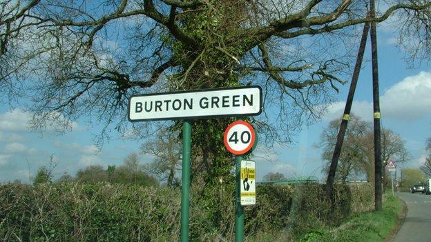 Sign for Burton Green