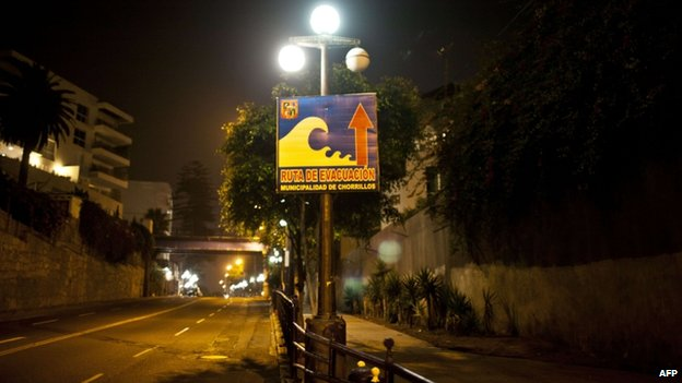 "Streets in Peru""s ""Costa Verde"" bay appear vacant following a tsunami alert"