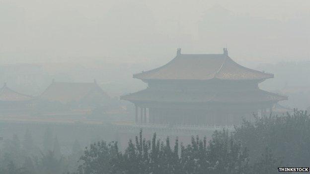 Forbidden City through the smog