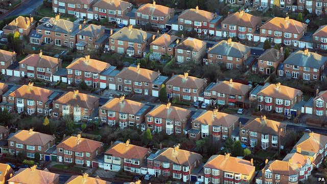 Rows of suburban semi-detached houses