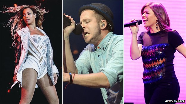 Beyonce, Ryan Tedder and Kelly Clarkson