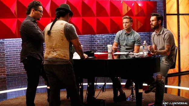 Ryan Tedder, Adam Levine and contestants on the US version of The Voice