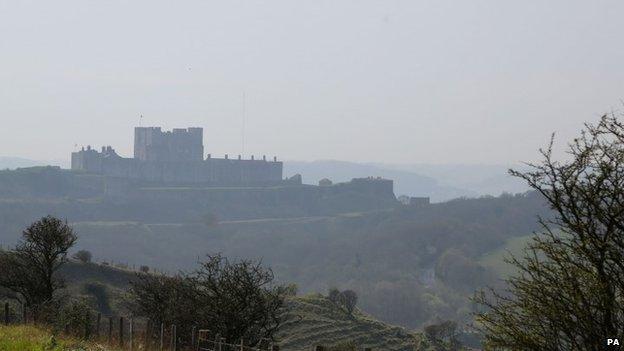 Dover Castle in Kent shrouded in haze