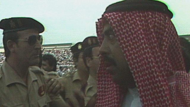 Sheikh Fahid Al-Ahmad Al-Sabah remonstrates against France's fourth goal against Kuwait