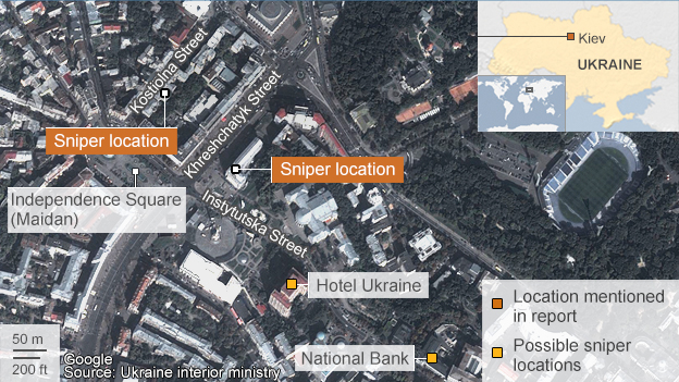 Map of Kiev showing sniper positions