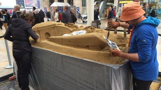 Sand sculpture at Paddington Station