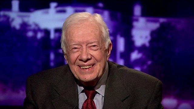 Former US President Jimmy Carter speaking to Kirsty Wark