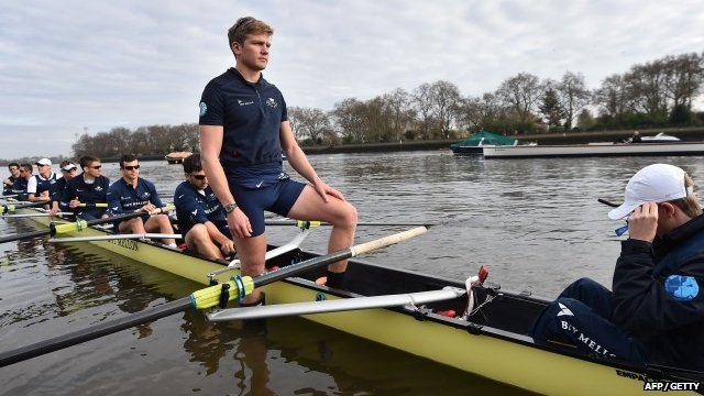 Oxford stroke Constantine Louloudis (2-R) looks on during a training session in Putney, south-west London, on April 5, 2014